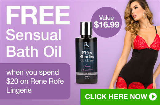 FREE Sensual Bath Oil when you spend $20 on Rene Rofe Lingerie