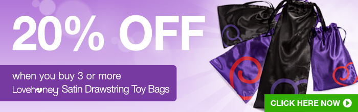 20% off when you buy 3 or more lovehoney Satin Drawstring Toy Bags
