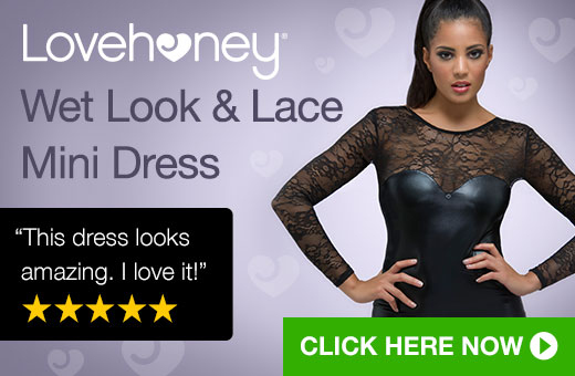 Lovehoney Wet Look and Lace Mini Dress