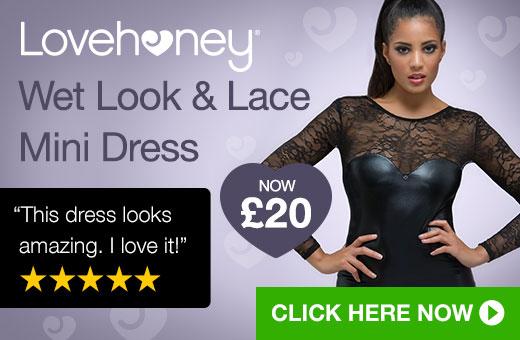 Lovehoney Wet Look and Lace Mini Dress