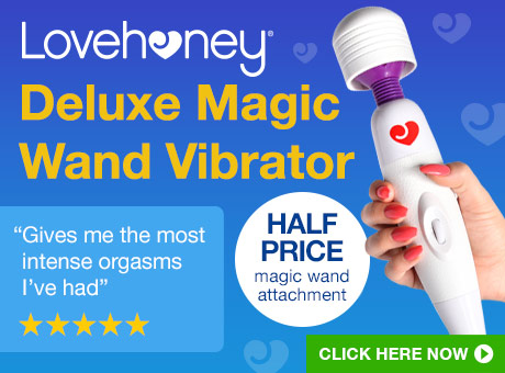 ^ Lovehoney Deluxe Magic Wand Vibrator with Half Price Attachment