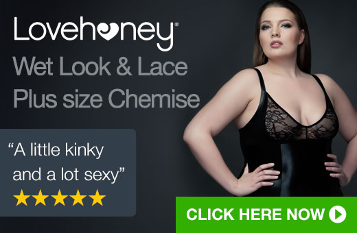 Lovehoney Plus Size Wet Look and Lace Chemise