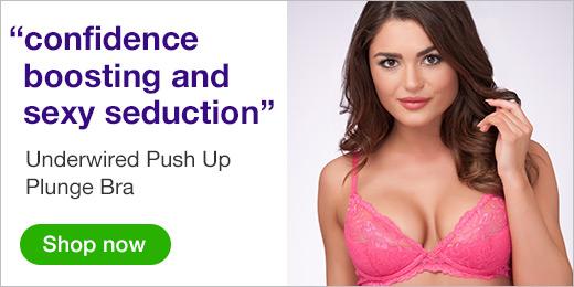 ^Underwired Push Up Plunge Bra