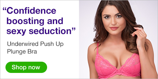 ^Underwired Push Up Plunge Bra