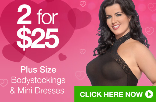 ^2 for $25 Plus Size Bodystockings and Mini Dresses