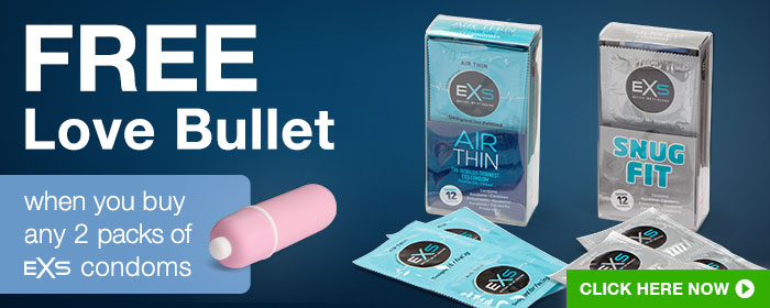 FREE Love Bullet when you buy any 2 packs of EXS condoms