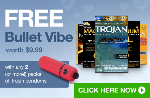 FREE Bullet Vibe when you buy 2 or more packs of Trojan condoms