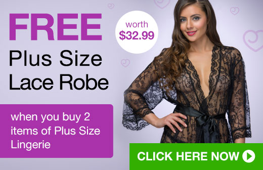 FREE Plus Size Lace Robe when you buy 2 items of Plus Size Lingerie lovehoney,sex toys,sex toy,sexy lingerie,Lovehoney.com