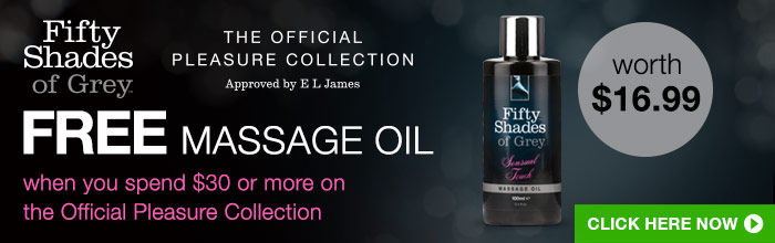 FREE massage oil when you spend $30 or more on the Official Pleasure Collection