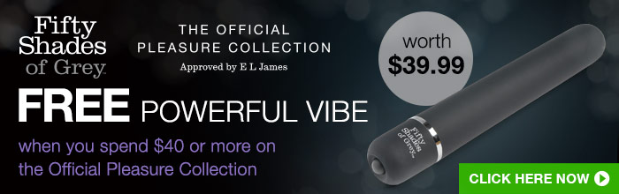 FSOG Free Powerful Vibe when you spend 40 or more on the Official Pleasure Collection