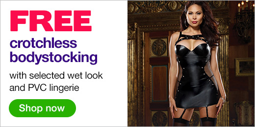 ^Free crotchless bodystocking with wet look lingerie