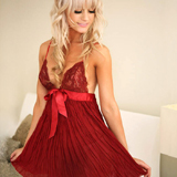 Sweet Streak Pleated Georgette and Lace Baby Doll Set