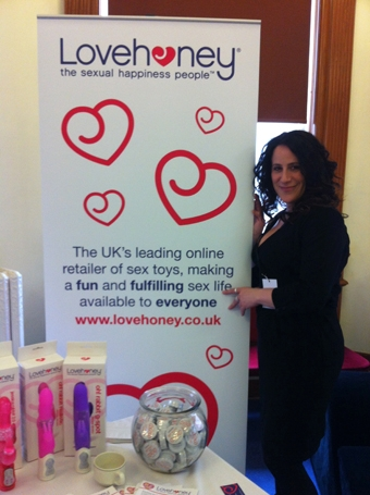 Zoe Margolis with the Lovehoney stand at Eroticon 2012
