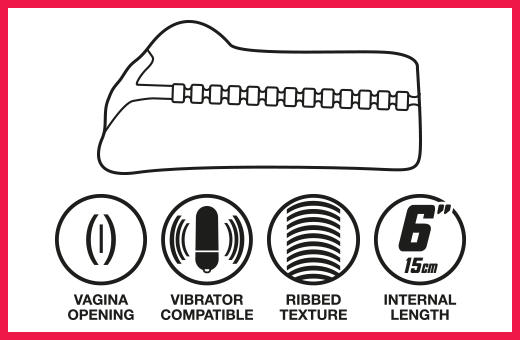 Vagina opening, vibrator compatible, ribbed texture, 6 inch length