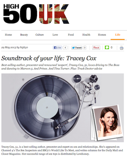 Tracey Cox shares the soundtrack of her life