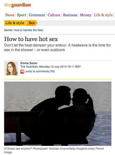 Tracey Cox Hot Sex featured in The Guardian