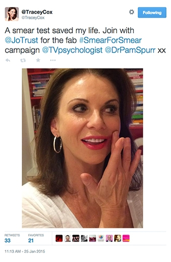 Tracey Cox Twitter #SmearForSmear