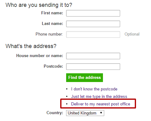 Choose 'Delivery to my nearest post office'