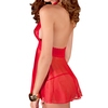 Rene Rofe Lace and Mesh Halter Babydoll and G-String Set