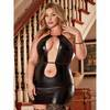 Exposed Liquid Onyx Plus Size Double Keyhole Dress and G-String Set