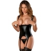 Exposed Liquid Onyx Cupless Merry Widow and G-String Set