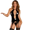 Exposed Liquid Onyx Double Keyhole Merry Widow and G-String Set