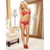 Dreamgirl Red Diamond Stretch Lace Bra and Strappy Short Set