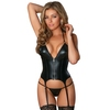 Exposed Liquid Onyx Merry Widow Wet Look Basque and G-String