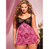 Seven Til Midnight Plus Size Bon Voyeur Babydoll and Thong Set