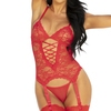 Seven 'til Midnight Midnight Affair Red Lace Basque Set