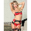 Seven Til Midnight Satin and Lace Bra Set with Suspender Belt