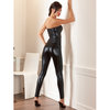 Cottelli Strapless Wet Look Catsuit with Diamante Belt