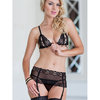 Soft Line Rosie Peek-a-Boo Bra G-String and Suspender Belt Set