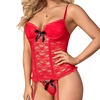 Exposed Luv Red Floral Lace Bustier and G-String Set