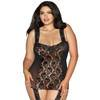 Dreamgirl Plus Size Sheer Lace All-In-One Garter Dress and Stockings