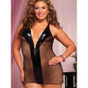 Seven Til Midnight Plus Size Fishnet Chemise with Zipper Front