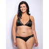 Lovehoney Plus Size Spoil Me Satin Triangle Bra Black