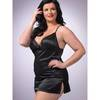 Lovehoney Plus Size schwarzes seidiges Babydoll-Set