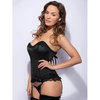 Lovehoney Spoil Me Satin Bustier Set Black