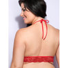Lovehoney Plus Size Love Me Lace Halter Bra Red