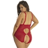 Oh La La Cheri Curves Plus Size Red Open Cup Crotchless Lace Teddy