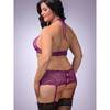Lovehoney Plus Size Love Me Lace Crotchless Boyshorts with Suspenders Plum