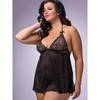 Lovehoney Plus Size Love Me Lace Babydoll und G-String schwarz