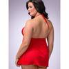 Lovehoney Plus Size Love Me Lace Babydoll and G-String Red