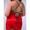Lovehoney Plus Size Lace-Up Satin Chemise Red