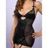 Lovehoney Underwired Satin Suspender Chemise Set Black