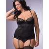 Lovehoney Plus Size Underwired Front-Fastening Satin Basque Set Black