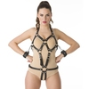 DOMINIX Deluxe Open Breast Leather Body Harness with Cuffs