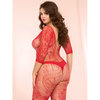 Seven til Midnight Plus Size Swirl and Floral Lace Crotchless Bodystocking