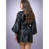 Lovehoney Short Satin Robe Black